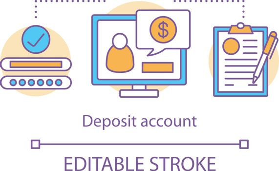 Savings concept icon. Deposit account idea thin line illustration. Banking plan, agreement management. Passive income from investment. Vector isolated outline drawing. Editable stroke