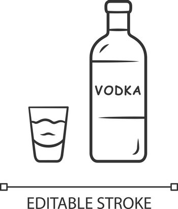 Vodka linear icon. Bottle and shot glass with drink. Clear distilled alcoholic beverage. Thin line illustration. Contour symbol. Vector isolated outline drawing. Editable stroke