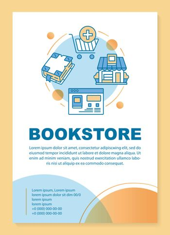Bookshop poster template layout. Virtual library. Online book shopping. Banner, booklet, leaflet print design with linear icons. Vector brochure page layouts for magazines, advertising flyers