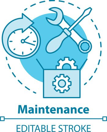 Maintenance concept icon. Round-the-clock workshop. Equipment setup. Repairs. Support. Warranty service idea thin line illustration. Vector isolated outline drawing. Editable stroke