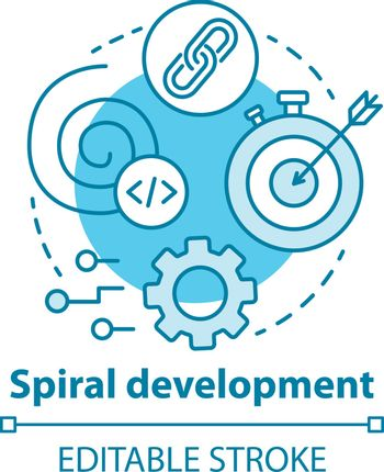 Spiral development concept icon. Strategy management. Planning and achieving goal. Software system engineering idea thin line illustration. Vector isolated outline drawing. Editable stroke