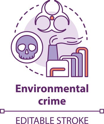 Environmental crime concept icon. Ecological disaster idea thin line illustration. Industrial pollution. Pollutants and toxicans emission. Vector isolated outline drawing. Editable stroke