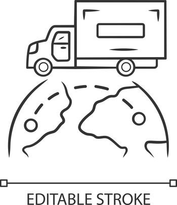 International delivery linear icon. Goods import and export. Worldwide shipping. Global freight transportation. Cargo shipment logistics. Contour symbol. Vector isolated drawing. Editable stroke