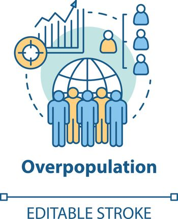 Overpopulation concept icon. Planet overcrowding idea thin line illustration. Increasing number of people. Demographic problems in society. Vector isolated outline drawing. Editable stroke
