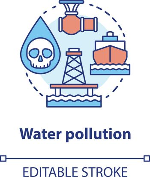 Water pollution concept icon. High seas waste contamination idea