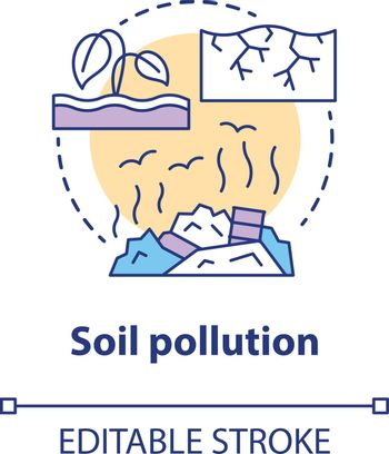 Soil pollution concept icon. Land waste contamination idea thin line illustration. Inefficient use of natural resources. Landfills and garbage problem. Vector isolated outline drawing. Editable stroke