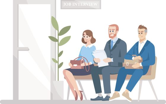 People waiting for job interview flat vector illustration. Smiling men, woman, vacancy candidates sitting under HR manager office door. Unemployed isolated cartoon characters on white background