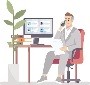 HR manager searching vacancy candidate flat vector illustration. Employment service. Employer choosing worker. Recruiter calls applicant isolated cartoon character on white background