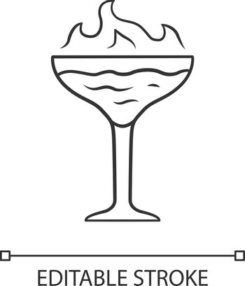 Flaming cocktail linear icon. Martini glass with beverage and burning fire. Drink with flammable alcohol. Thin line illustration. Contour symbol. Vector isolated outline drawing. Editable stroke