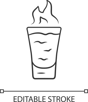 Flaming shot linear icon. Glass with beverage, burning fire. Drink with flammable high-proof alcohol. Absinthe. Thin line illustration. Contour symbol. Vector isolated outline drawing. Editable stroke