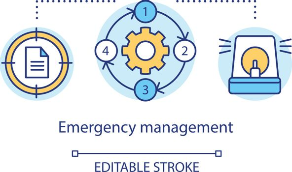 Emergency management concept icon. Quick response service. Capacity to cope with hazards and disasters idea thin line illustration. Vector isolated outline drawing. Editable stroke