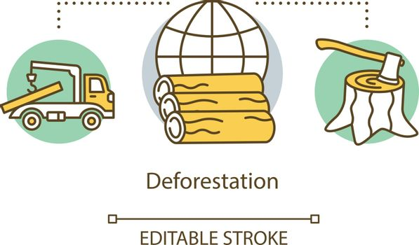 Deforestation concept icon. Forestry logging. Tree felling. Eco problem. Lumber-camp. Destruction of forests idea thin line illustration. Vector isolated outline drawing. Editable stroke