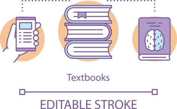 Textbooks concept icon. School subjects literature idea thin line illustration. Books, documents, articles and workbooks. Educational materials. Vector isolated outline drawing. Editable stroke
