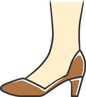 Court shoes brown color icon. Woman stylish formal footwear desi