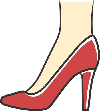 Stiletto shoes red color icon. Woman stylish formal footwear des