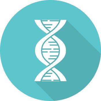 Biophysics turquoise flat design long shadow glyph icon. Genetics research. DNA helix molecule structure. Genome scientific studies. Chromosome gene. Vector silhouette illustration