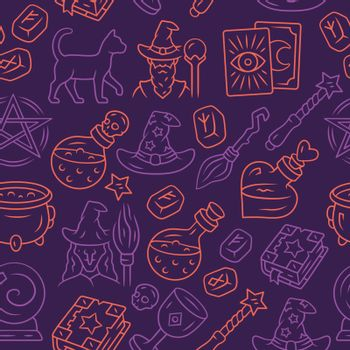 Halloween items vector seamless pattern. Mystery background. Pur