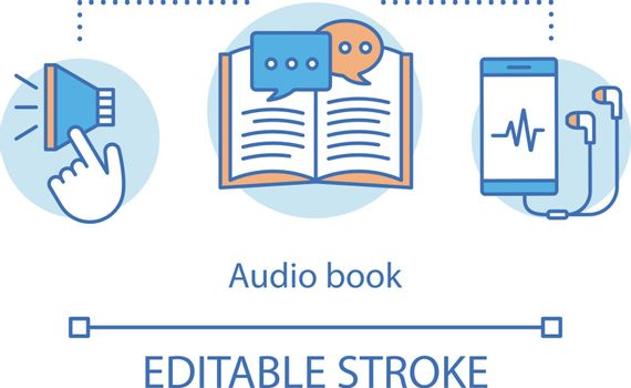 Audio book concept icon. Audio-recorded literature idea thin line illustration. Audiobooks, records. Ebooks listening with smartphone headphones. Vector isolated outline drawing. Editable stroke