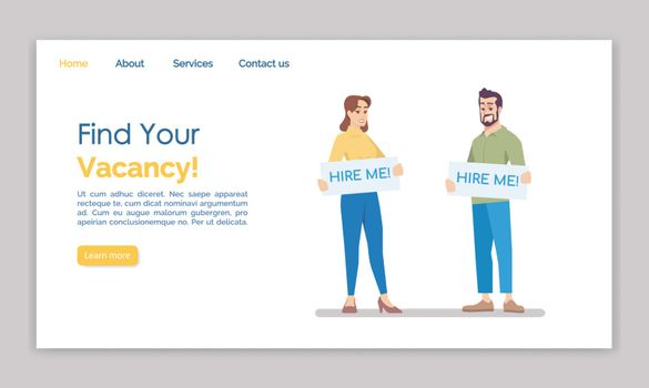 Find your vacancy landing page vector template. HR agency website interface idea with flat illustrations. Employment staff homepage layout. Job search web banner, webpage cartoon concept