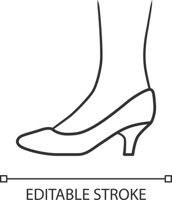 Kitten heel shoes linear icon. Woman stylish formal footwear. Female casual and formal retro pumps. Editable stroke. Thin line illustration. Contour symbol. Vector isolated outline drawing