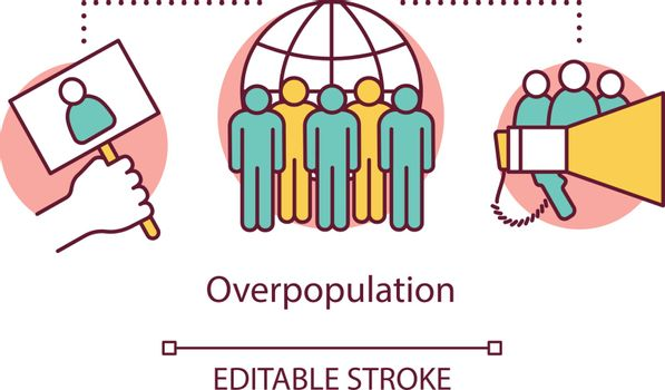Overpopulation concept icon. Overcrowding. Increase in population. Mass protest. Freedom of peaceful assembly idea thin line illustration. Vector isolated outline drawing. Editable stroke
