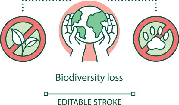 Biodiversity loss concept icon. Species extinction. Plants and animals destruction. Habitat loss and fragmentation idea thin line illustration. Vector isolated outline drawing. Editable stroke