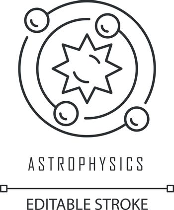 Astrophysics linear icon. Study of universe, stars, planets, galaxies. Astrophysical discoveries. Thin line illustration. Contour symbol. Vector isolated outline drawing. Editable stroke