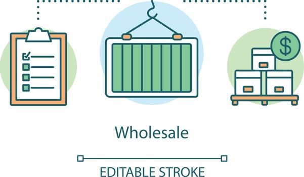 Wholesale concept icon. Warehouse idea thin line illustration. Boxes on wooden pallet, crane with heavy load, inventory. Supply chain management. Vector isolated outline drawing. Editable stroke