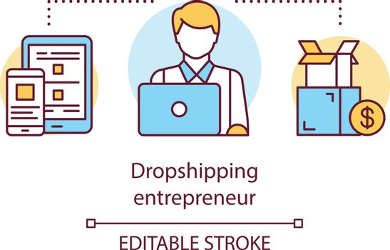 Dropshipping entrepreneur concept icon. Delivery service worker idea thin line illustration. Businessman working on laptop. Ordering parcel. Vector isolated outline drawing. Editable stroke