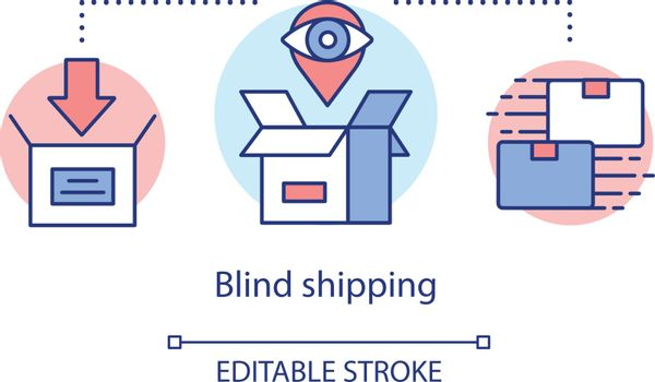 Blind shipping concept icon. Merchandise without return address idea thin line illustration. Hiding wholesale source. Parcel delivery. Vector isolated outline drawing. Editable stroke