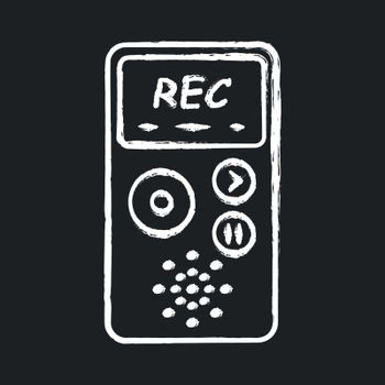 Dictaphone chalk icon. Portable audio recorder. Device for recording interviews. Audio record of voice, music. Journalist equipment. Isolated vector chalkboard illustration