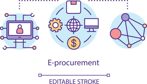 E-procurement concept icon. Supplier exchange idea thin line illustration. Business to business purchase and sale. Electronic data interchange. Vector isolated outline drawing. Editable stroke