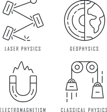 Physics branches linear icons set. Laser and classical physics, electromagnetism and geophysics. Physical processes. Thin line contour symbols. Isolated vector outline illustrations. Editable stroke