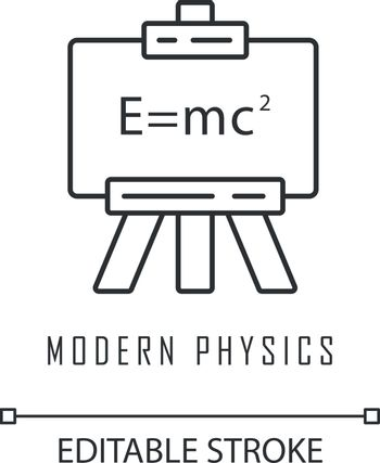 Modern physics linear icon. Theory of relativity and quantum mechanics. Einstein formula on whiteboard. Thin line illustration. Contour symbol. Vector isolated outline drawing. Editable stroke