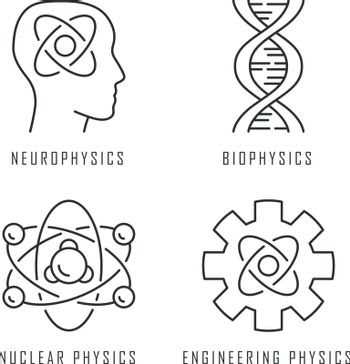Physics branches linear icons set. Neurophysics, biophysics, engineering and nuclear physics. Human brain. Thin line contour symbols. Isolated vector outline illustrations. Editable stroke