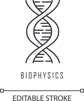 Biophysics linear icon. Genetics. DNA helix molecule structure. Genome scientific studies. Chromosome gene. Thin line illustration. Contour symbol. Vector isolated outline drawing. Editable stroke