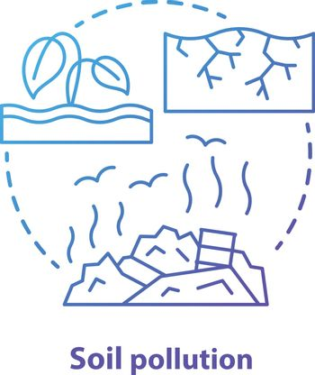 Soil pollution concept icon. Land waste contamination idea thin line illustration in blue. Inefficient use of natural resources. Landfills and garbage dumps problem. Vector isolated outline drawing