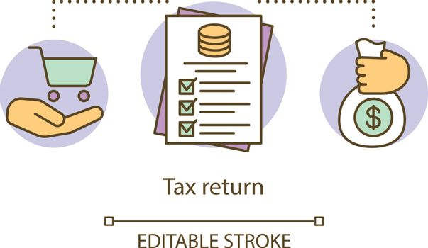 Tax return concept icon. Filling in revenue documentation idea thin line illustration. Contribution to state revenue. Taxation accounting. Vector isolated outline drawing. Editable stroke