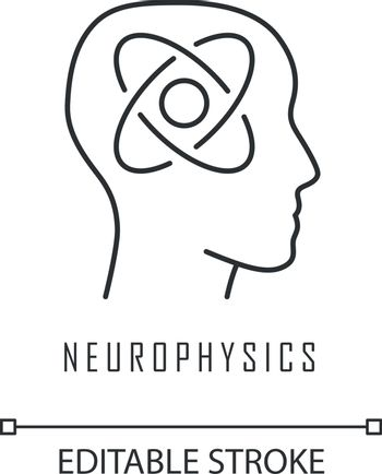 Neurophysics linear icon. Nervous system, human brain studying. Neuroscience research. Cognitive neuroscience. Thin line illustration. Contour symbol. Vector isolated outline drawing. Editable stroke