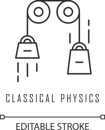 Classical physics linear icon. Laws of motion and gravitation. Theoretical kinematics physical experiment. Thin line illustration. Contour symbol. Vector isolated outline drawing. Editable stroke