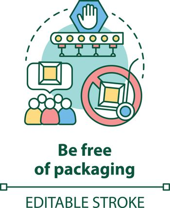 Be free of packaging concept icon. Zero waste idea thin line illustration. Dropshipping service. Parcel delivery. Sustainable packaging. Vector isolated outline drawing. Editable stroke