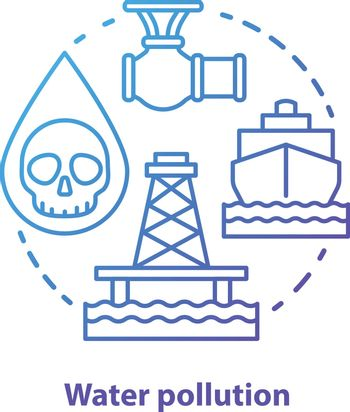 Water pollution concept icon. High seas waste contamination idea thin line illustration in blue. Ecological water problems and disaster prevention. Oil emission. Vector isolated outline drawing