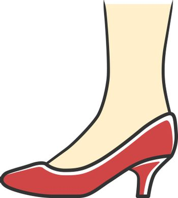 Kitten heel shoes red color icon. Woman stylish formal footwear design. Female casual and formal retro pumps side view. Fashionable ladies clothing accessory. Isolated vector illustration
