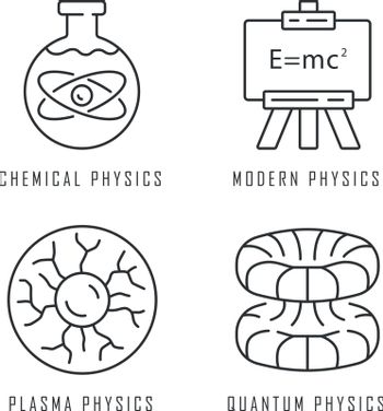 Physics branches linear icons set. Chemical, modern, plasma and quantum physics. Quantum mechanics. Thin line contour symbols. Isolated vector outline illustrations. Editable stroke
