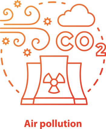 Air pollution concept icon. Atmosphere & industrial waste contamination idea thin line illustration in red. CO2, smog emission. Gas polluted urban areas. Vector isolated outline drawing