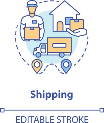 Shipping concept icon. Parcel shipment idea thin line illustration. Logistics and distribution. Transportation service, delivery to home. Vector isolated outline drawing. Editable stroke