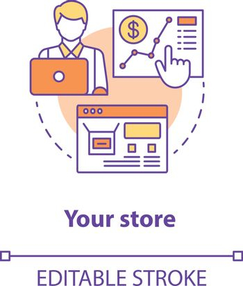 Your store concept icon. Entrepreneurship idea thin line illustration. Online shop management. Digital marketing. Successful business. Vector isolated outline drawing. Editable stroke