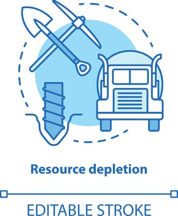 Resource depletion concept icon. Natural minerals exhaustion idea thin line illustration. Nonrenewable resources, extraction and consumption. Vector isolated outline drawing. Editable stroke
