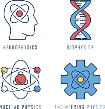 Physics branches color icons set. Neurophysics, biophysics, engineering and nuclear physics. Human brain, structure of molecule. Physical processes learning disciplines. Isolated vector illustrations