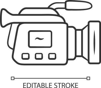 Camera linear icon. Camcorder. Videotaping, video recording. Filmmaking professional equipment. Thin line illustration. Contour symbol. Vector isolated outline drawing. Editable stroke